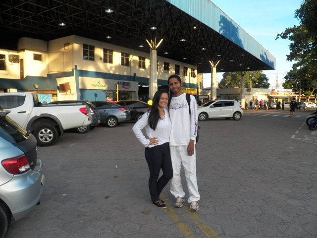 "My friend Micaella and I posing for a ""goodbye"" photo at the bus station in Manaus."