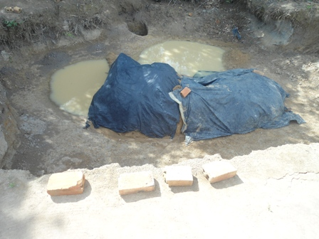 Pit Dug In The Earth by Extracting Clay For Block Production