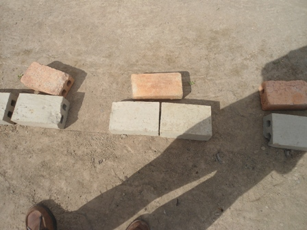Baked And Unbaked Blocks Lying On The Ground