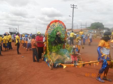 Members of a group in Lethem, Rupununi Savannas taking part in the Mashramani celebrations