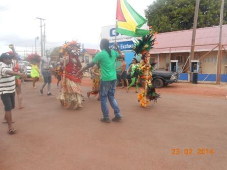 Members of a group in Lethem, Rupununi Savannas taking part in the Mashramani celebrations